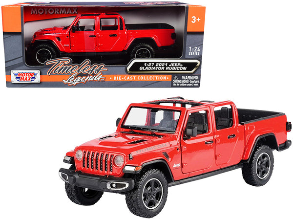 2021 Jeep Gladiator Rubicon (Open Top) Pickup Truck Red 1/24-1/27 Diecast Model by Motormax