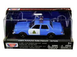 "1983 Dodge Diplomat ""Royal Canadian Mounted Police - RCMP"" Light Blue and White 1/43 Diecast Model Car by Motormax"