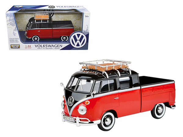 Volkswagen Type 2 (T1) Delivery Pickup Truck Red/Black 1/24 Diecast Model Car by Motormax