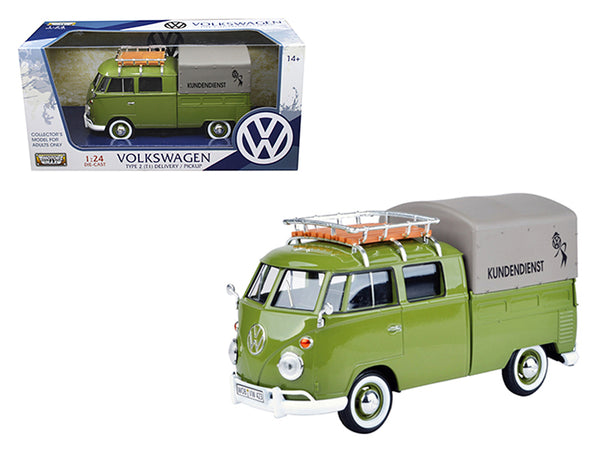 Volkswagen Type 2 (T1) Delivery Pickup Truck Green 1/24 Diecast Model Car by Motormax
