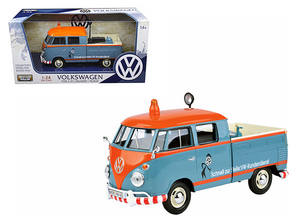 Volkswagen Type 2 (T1) Delivery Pickup Truck Blue/Orange 1/24 Diecast Model Car by Motormax