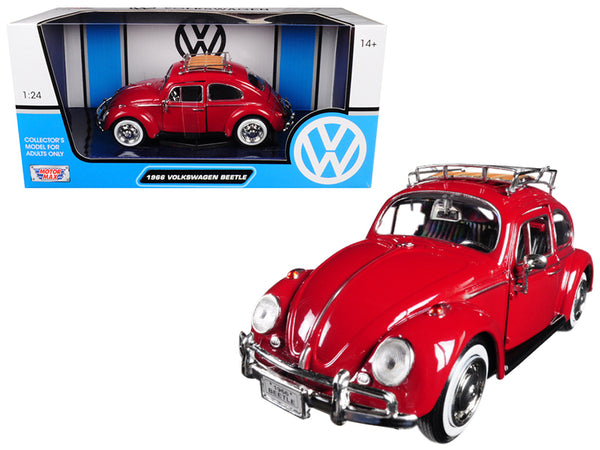1966 Volkswagen Classic Beetle Red 1/24 Diecast Model Car by Motormax