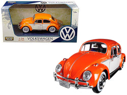 1966 Volkswagen Classic Beetle with Rear Luggage Rack Orange 1/24 Diecast Model Car by Motormax