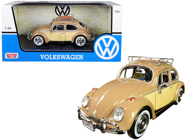 1966 Volkswagen Classic Beetle with Roof Luggage Rack Light Brown 1/24 Diecast Model Car by Motormax