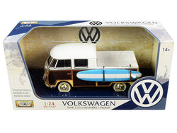 Volkswagen Type 2 (T1) Pickup White and Yellow with Wood Paneling with Surfboard 1/24 Diecast Model by Motormax