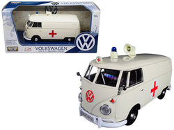 Volkswagen Type 2 (T1) Ambulance Cream 1/24 Diecast Model by Motormax