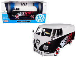 Volkswagen Type 2 (T1) Delivery Van with Flames 1/24 Diecast Model Car by Motormax