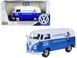 "Volkswagen Type 2 (T1) Delivery Van Autohaus Sudekum ""Kundendienst"" Candy Blue and White 1/24 Diecast Model Car by Motormax"