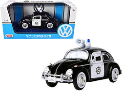 1966 Volkswagen Beetle Police Car Black and White 1/24 Diecast Model Car by Motormax
