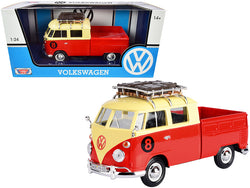 Volkswagen Type 2 (T1) #8 Pickup Truck with Roof Rack and Luggage Red and Yellow 1/24 Diecast Model by Motormax