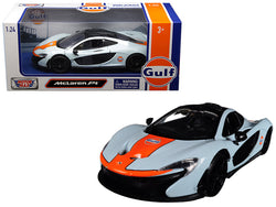 "McLaren P1 with ""Gulf"" Livery Light Blue with Orange Stripe 1/24 Diecast Model Car by Motormax"