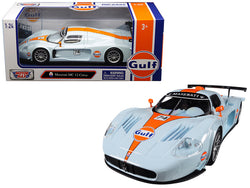 "Maserati MC 12 Corsa #74 with ""Gulf"" Livery Light Blue with Orange Stripe 1/24 Diecast Model Car by Motormax"