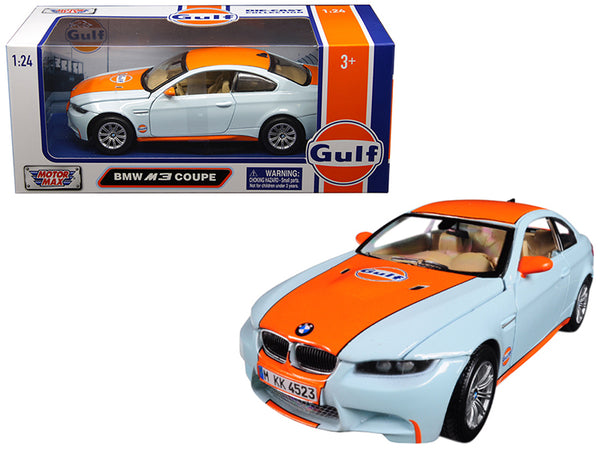 "BMW M3 Coupe with ""Gulf"" Livery Light Blue with Orange Stripe 1/24 Diecast Model Car by Motormax"