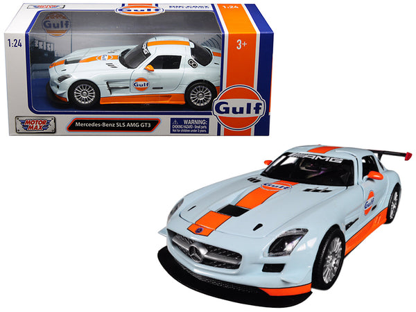 "Mercedes Benz SLS AMG GT3 with ""Gulf"" Livery Light Blue with Orange Stripe 1/24 Diecast Model Car by Motormax"