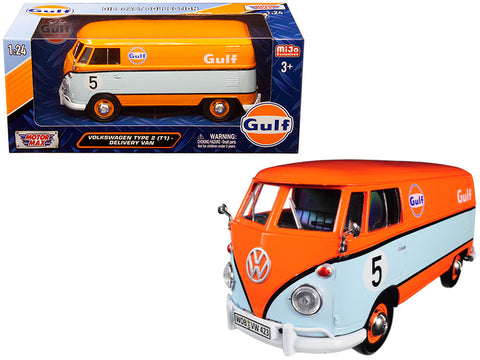 "Volkswagen Type 2 (T1) Delivery Van #5 ""Gulf"" Orange and Light Blue 1/24 Diecast Model by Motormax"