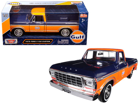 "1979 Ford F-150 Custom Pickup Truck ""Gulf"" Dark Blue and Orange 1/24 Diecast Model by Motormax"