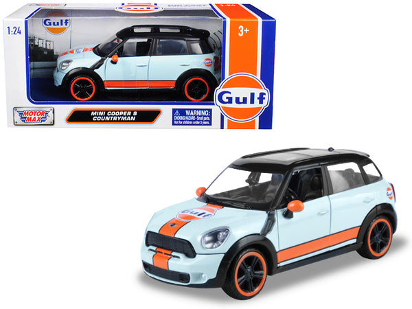 "Mini Cooper S Countryman with ""Gulf"" Livery Light Blue with Orange Stripe and Black Top 1/24 Diecast Model Car by Motormax"