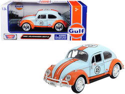"1966 Volkswagen Beetle #48 with ""Gulf"" Livery Light Blue with Orange Stripe 1/24 Diecast Model Car by Motormax"