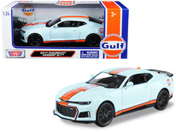 "2017 Chevrolet Camaro ZL1 with ""Gulf"" Livery Light Blue with Orange Stripe 1/24 Diecast Model Car by Motormax"