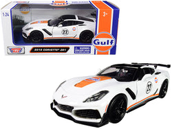 "2019 Chevrolet Corvette ZR1 #22 ""Gulf Oil"" White with Orange Stripes and Black Top 1/24 Diecast Model Car by Motormax"