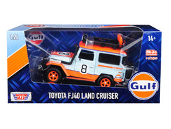 "Toyota FJ40 Land Cruiser #8 ""Gulf Oil""  White Limited Edition to 2400 pieces Worldwide 1/24 Diecast Model by Motormax"