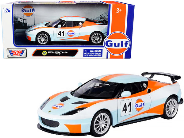 "Lotus Evora GT4 #41 ""Gulf Oil"" Light Blue with White and Orange Stripes 1/24 Diecast Model Car by Motormax"