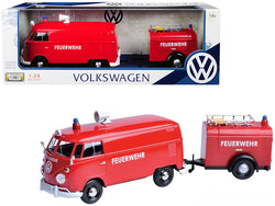 "Volkswagen Type 2 (T1) Fire Van with Fire Fighting Trailer ""Feuerwehr"" Red 1/24 Diecast Model by Motormax"
