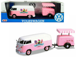 "Volkswagen T1 Delivery Van with Ice-Cream Trailer Pink and White ""Ice-Cream Shop"" 1/24 Diecast Model by Motormax"