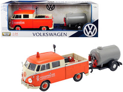 "Volkswagen Type 2 (T1) Pickup Truck Orange and Cream with Oil Trailer ""Road Service"" 1/24 Diecast Model Car by Motormax"