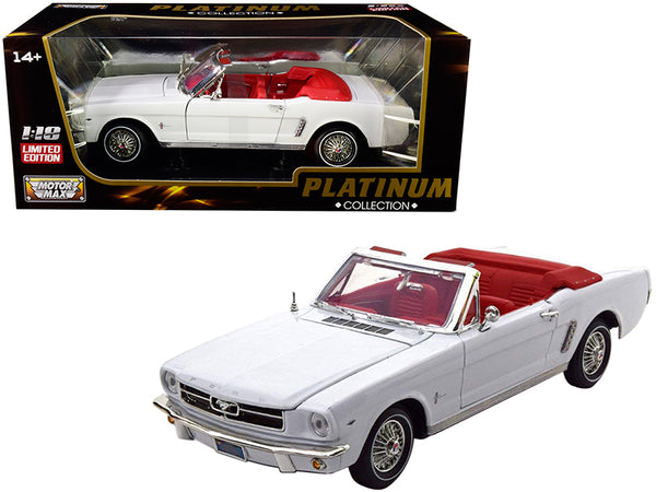 "1964 1/2 Ford Mustang Convertible White with Red Interior ""Platinum Collection"" 1/18 Diecast Model Car by Motormax"