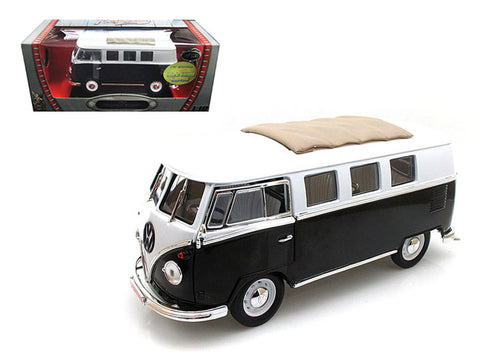 1962 Volkswagen Microbus Black with Sliding Fabric Sunroof Limited Edition to 600pcs 1/18 Diecast Model by Road Signature
