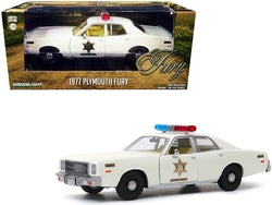 "1977 Plymouth Fury Cream ""Hazzard County Sheriff"" 1/24 Diecast Model Car by Greenlight"