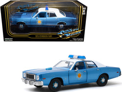 "1975 Plymouth Fury Police Pursuit ""Arkansas State Police"" Blue Metallic with White Top ""Smokey and The Bandit"" (1977) Movie 1/24 Diecast Model Car by Greenlight"