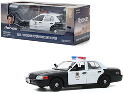 "2008 Ford Crown Victoria Police Interceptor White and Black ""LAPD - Los Angeles Police Department"" ""The Rookie"" (2018) TV Series 1/24 Diecast Model Car by Greenlight"