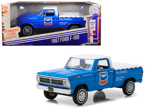 "1967 Ford F-100 with Bed Cover ""Chevron Full Service"" Blue with White Top Running on Empty Series 1/24 Diecast Model by Greenlight"