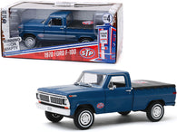 "1970 Ford F-100 Pickup Truck with Bed Cover Dark Blue ""STP"" ""Running on Empty"" Series #4 1/24 Diecast Model by Greenlight"
