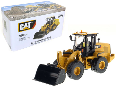 CAT Caterpillar 938K Wheel Loader with Interchangeable Work Tools - (Bucket and Fork) and Operator High Line Series 1/50 Diecast Model by Diecast Masters