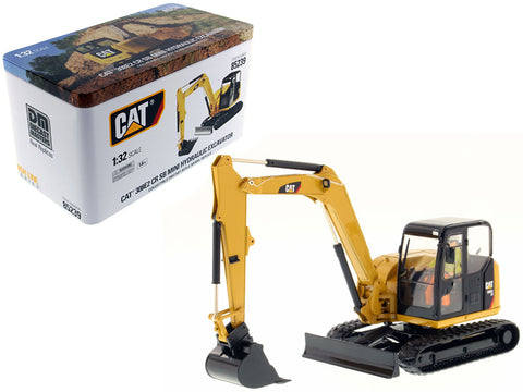 CAT Caterpillar 308E2 CR SB Mini Hydraulic Excavator with Working Tools and Operator High Line Series 1/32 Diecast Model by Diecast Masters