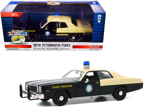 "1978 Plymouth Fury ""Florida Highway Patrol"" Black and Yellow ""Hot Pursuit"" 1/24 Diecast Model Car by Greenlight"