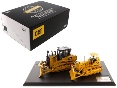 CAT Caterpillar D7C Track Type Tractor (Circa 1955-1959) and CAT Caterpillar D7E Electric Drive Track Type Tractor (Current) with Operators Evolution Series (Set of 2 pieces) 1/50 Diecast Models by Diecast Masters