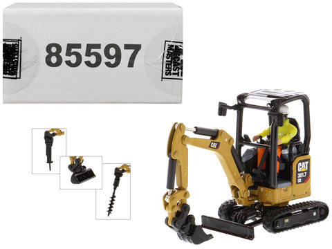 CAT Caterpillar 301.7 CR Next Generation Mini Hydraulic Excavator with Work Tools and Operator High Line Series 1/50 Diecast Model by Diecast Masters