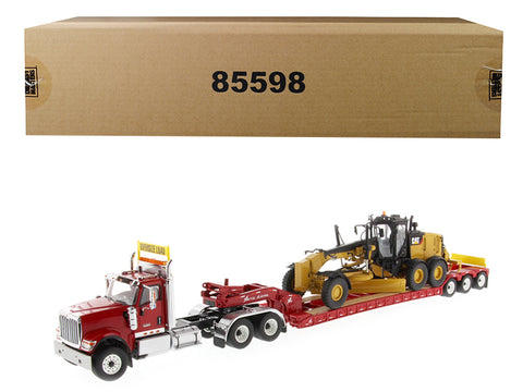 International HX520 Tandem Tractor Red with XL 120 Lowboy Trailer and CAT Caterpillar 12M3 Motor Grader (2 Piece Set) 1/50 Diecast Models by Diecast Masters