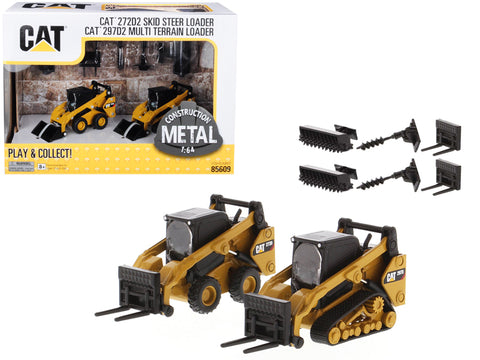 CAT (2 Piece Set) CAT Caterpillar 272D2 Skid Steer Loader and CAT Caterpillar 297D2 Multi Terrain Track Loader with Accessories 1/64 Diecast Models by Diecast Masters