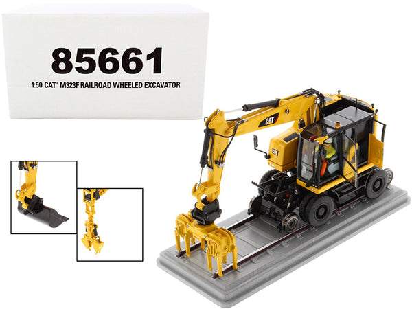 CAT Caterpillar M323F Wheeled Excavator with Operator and 3 Work Tools Safety Yellow Version High Line Series 1/50 Diecast Model by Diecast Masters