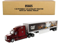 "Peterbilt 579 UltraLoft Truck Tractor Red with ""CAT Caterpillar"" Mural Dry Van Trailer ""Transport Series"" 1/50 Diecast Model by Diecast Masters"
