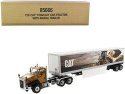 "CAT Caterpillar CT660 Day Cab with Caterpillar Mural Dry Van Trailer ""Transport Series"" 1/50 Diecast Model by Diecast Masters"