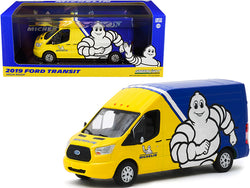 "2019 Ford Transit High Roof Van ""Michelin Tires"" Yellow and Blue 1/43 Diecast Model by Greenlight"