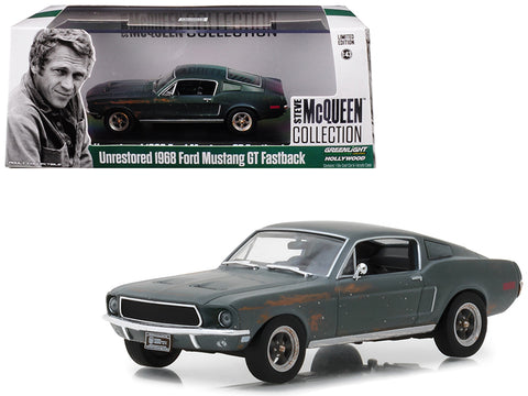 "1968 Ford Mustang GT Fastback Green Unrestored ""Steve McQueen Collection"" (1930-1980) 2018 Detroit Auto Show 1/43 Diecast Model Car by Greenlight"