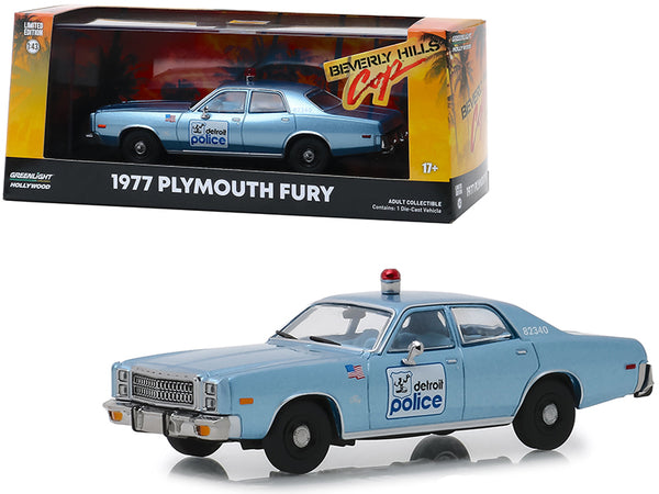 "1977 Plymouth Fury Blue ""Detroit Police"" ""Beverly Hills Cop"" (1984) Movie 1/43 Diecast Model Car by Greenlight"