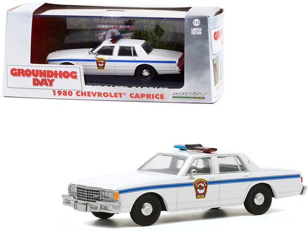 "1980 Chevrolet Caprice ""Punxsutawney Police"" White ""Groundhog Day"" (1993) Movie 1/43 Diecast Model Car by Greenlight"